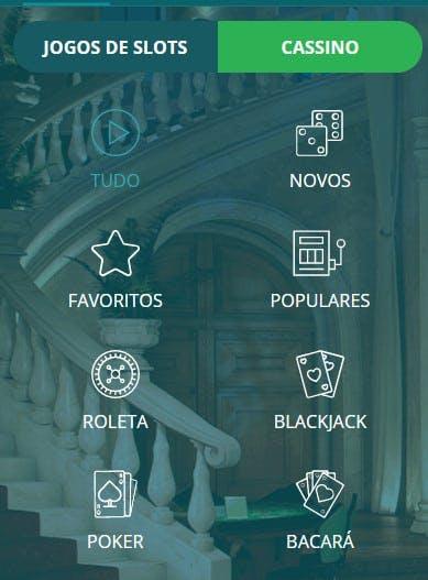 Filtre pelos jogos preferidos no menu localizado à esquerda.