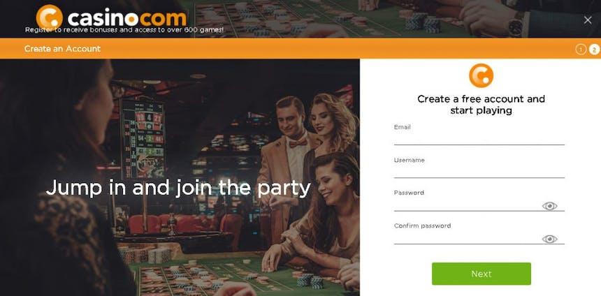 como criar uma conta na Casino.com