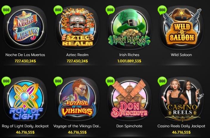 slots e caça-níqueis na 888casino