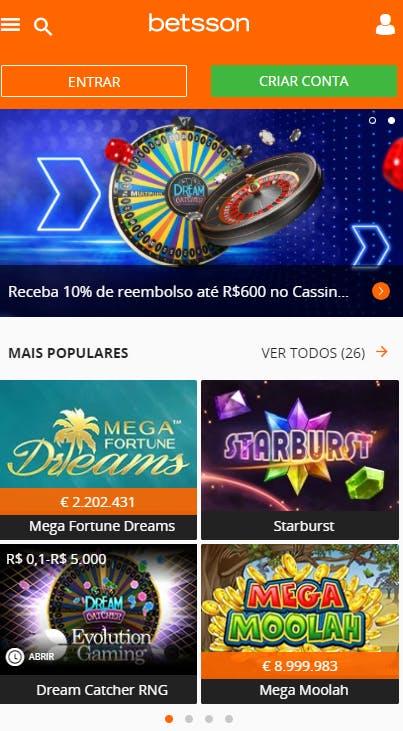 aplicativo da Betsson para celular para Android E iPhone
