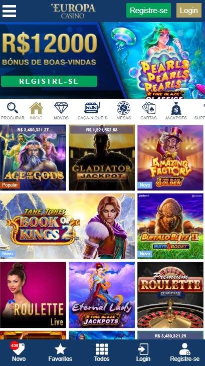 aplicativo da Europa Casino para celular para Android E iPhone