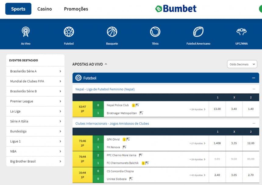apostas esportivas na Bumbet