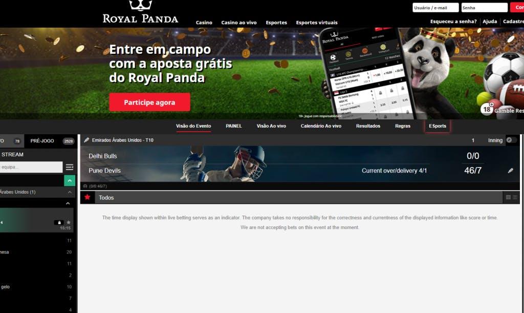 apostas esportivas na Royal Panda