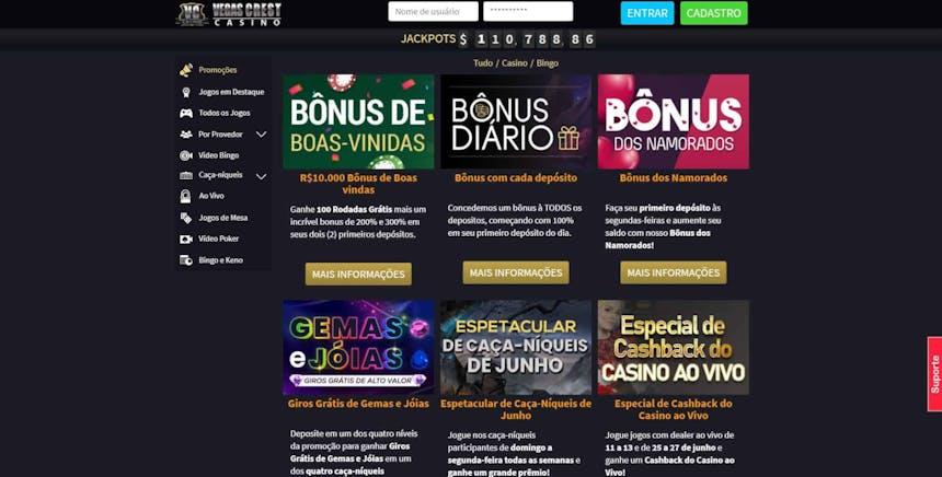 bônus e promoções da Vegas Crest Casino