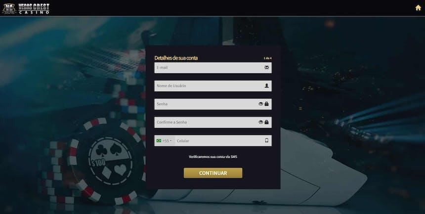 como criar uma conta na Vegas Crest Casino
