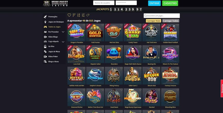 slots e caça-níqueis na Vegas Crest Casino