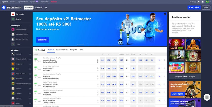 Apostas esportivas na Betmaster